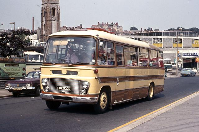 Embankment Motor Co . Plymouth . EDR520D . Passing Bretonside Bus Station , Plymouth , Devon . Saturday 29th-July-1972