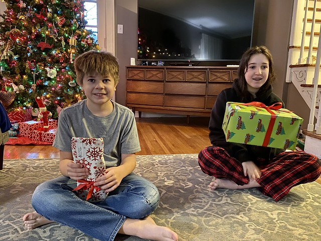 The first gifts of Christmas, sibling gifts.