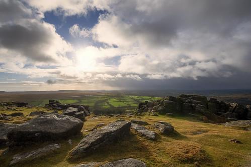 dartmoor sheepstor tor rocks golden gold brown grey black white blue clouds suns rain storm landscape rural countryside national park devon uk sigma nikon 1020 d7500
