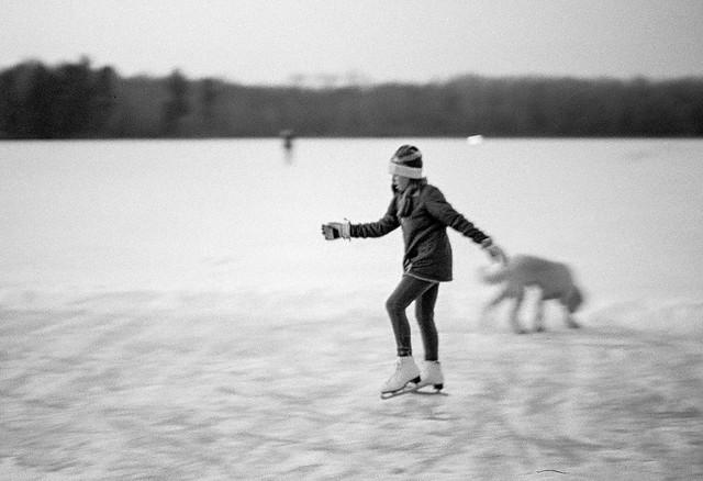 Skating on the lake.