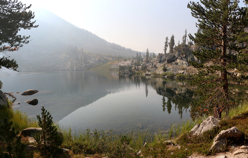 Dollar Lake and increasingly hazy and smoky sky from the Pacific Crest Trail