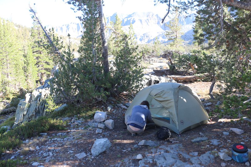 Our tent and campsite on a small ridge near a creek, just above Woods Creek on the PCT-JMT