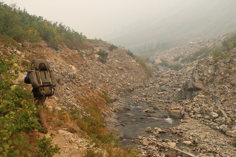 The Pacific Crest Trail parallels Woods Creek as we continue north - the air is turning smoky and orange again