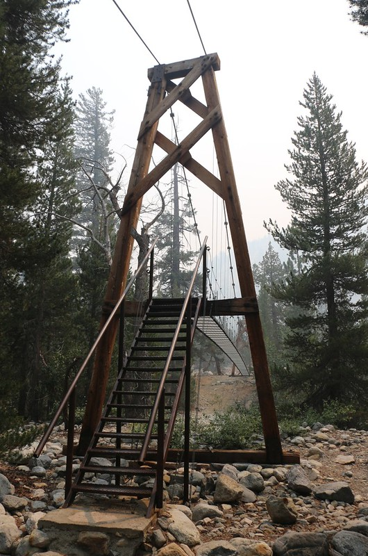 There was a welded steel stairway on the north side of the suspension bridge