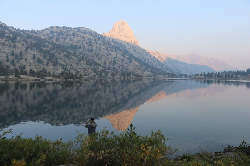 Fin Dome reflected in Lower Rae Lake just after dawn - most of yesterday's smoke has blown elsewhere