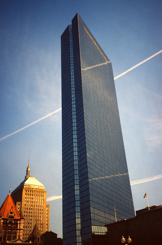 John Hancock Tower with Contrails