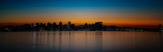 Sunrise behind San Diego