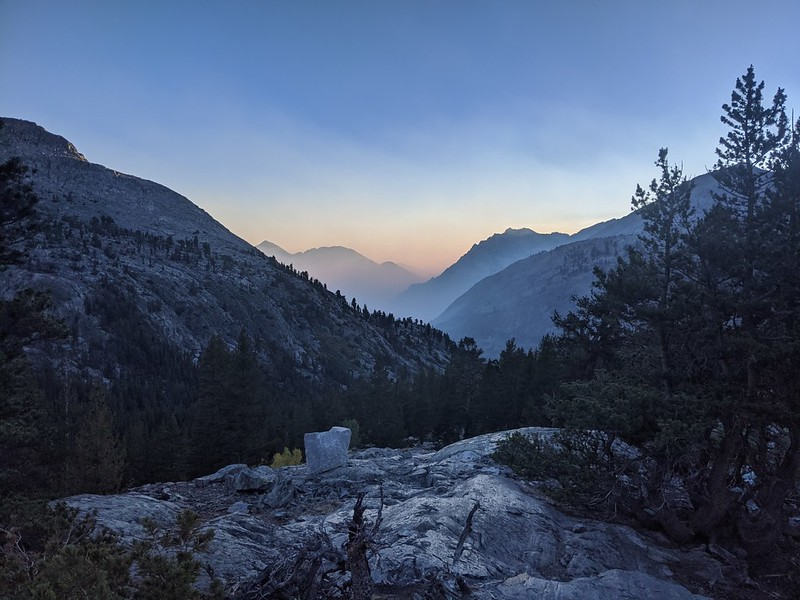 Sunset from our campsite near where the Sawmill Pass Trail intersects the Pacific Crest Trail