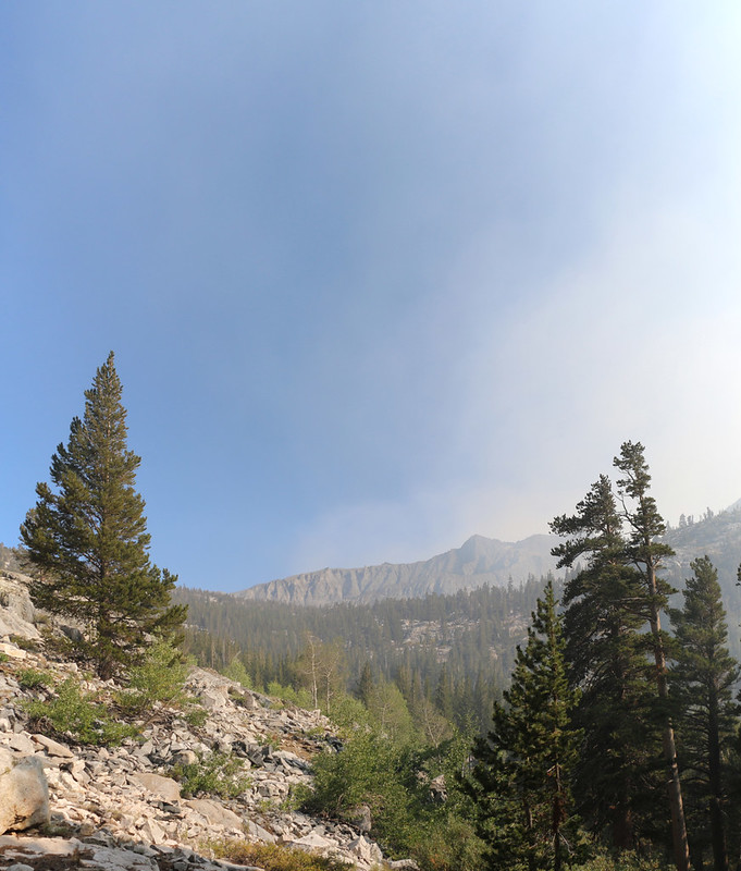 As we hiked north up Woods Creek, we got a glimpse of clear blue sky - maybe we could leave the smoke behind!