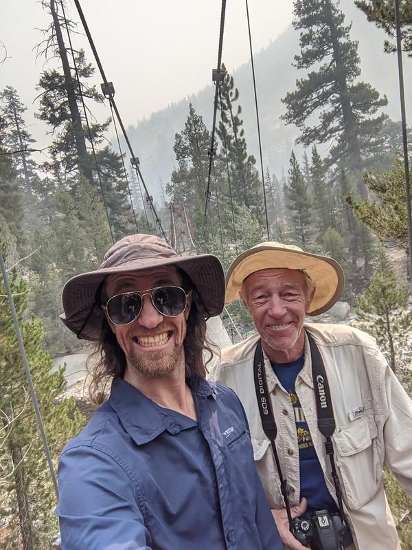 We took a double-selfie on the Woods Creek Suspension Bridge on the John Muir Trail