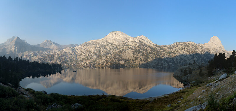 Panorama view west over Lower Rae Lake with Painted Lady (far left) and Fin Dome (far right) from the PCT