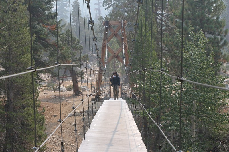 The Woods Creek Suspension Bridge was rocking and wobbling with every step