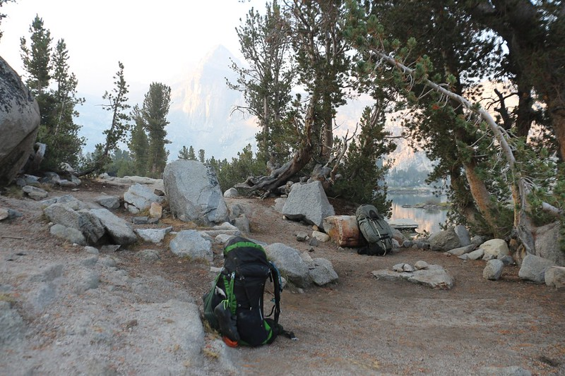 Packed up and ready to go from our camp at Rae Lakes