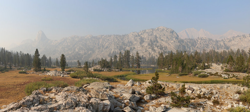 Fin Dome (far left) and Mount Clarence King (right) above Arrowhead Lake from the Pacific Crest Trail