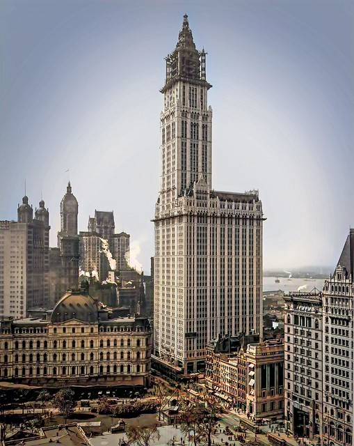 Construction of the Woolworth Building - 1912_colorSAI_result