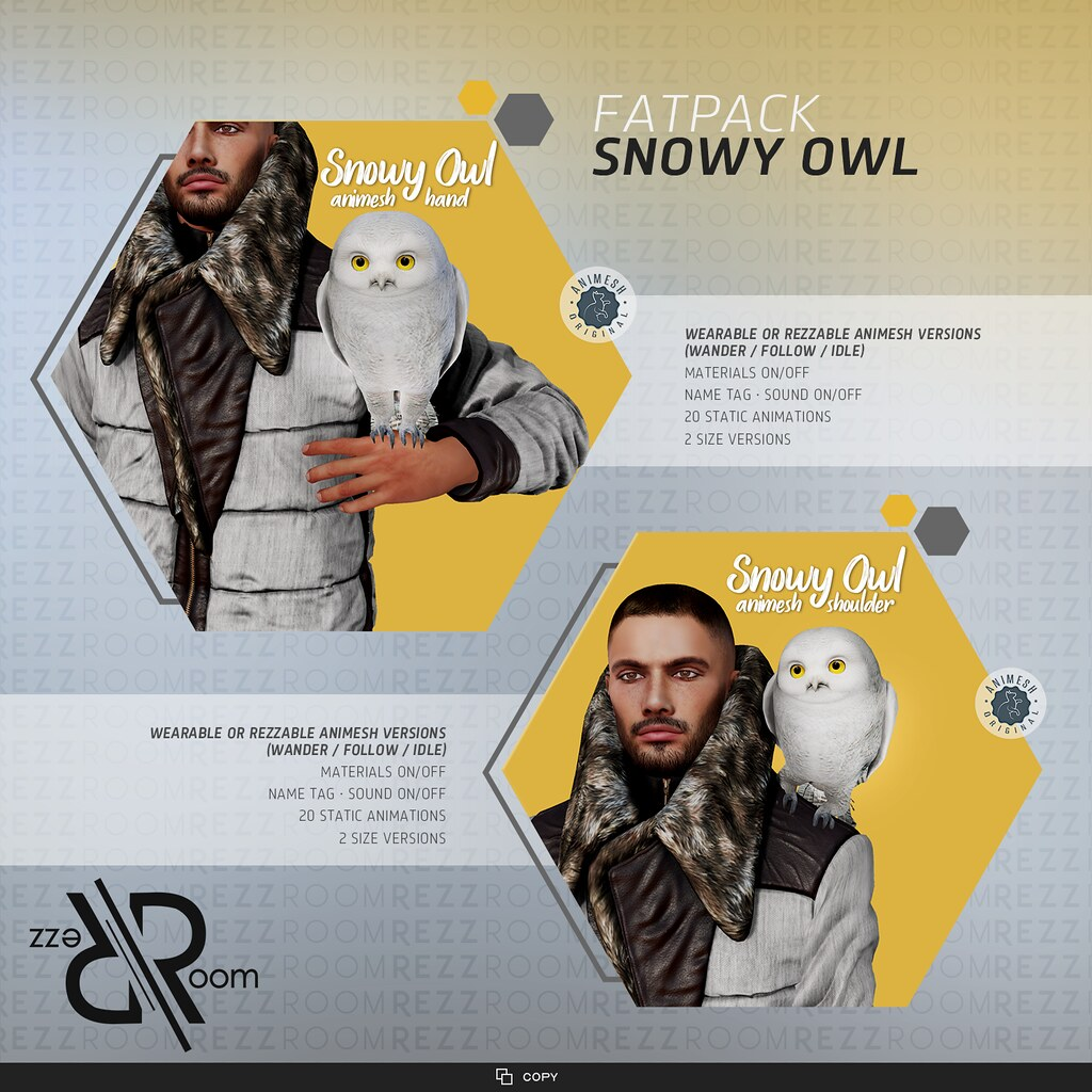 [Rezz Room] Snowy Owl Animesh on hand or on shoulder