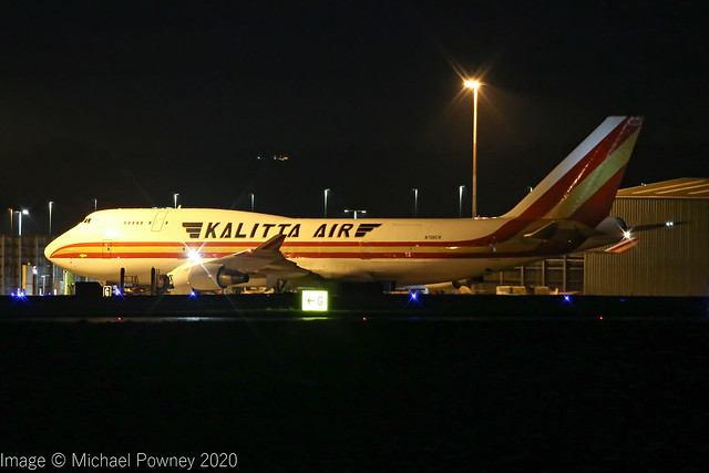 N708CK - 1991 build Boeing B747-4B5BCF, pulling onto stand at Cargo West, an evening arrival at East Midlands