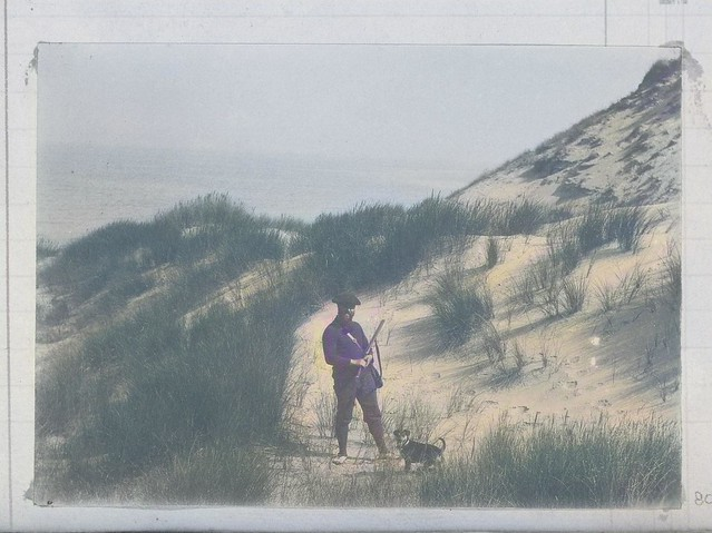 Hunter in the Dunes, Standing with Dog, anonymous, c. 1880 - c. 1900 2_colorSAI_result