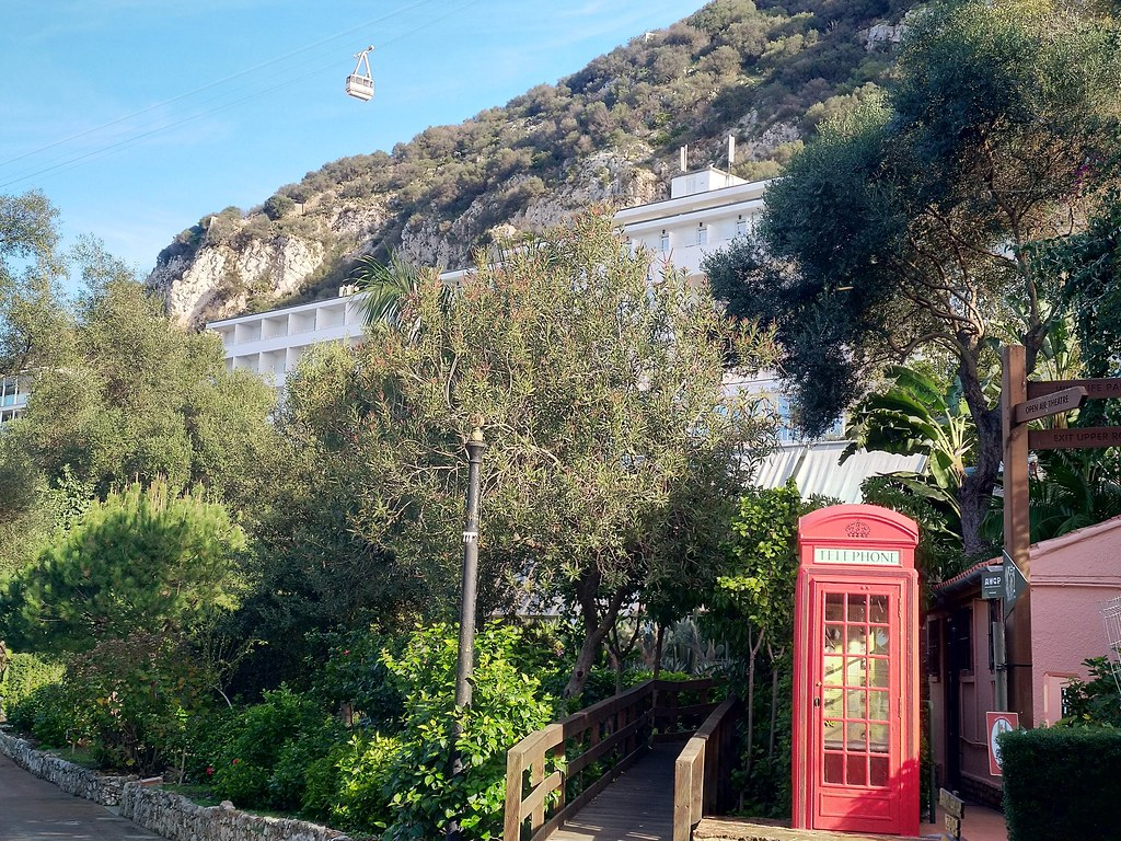 Alameda Botanical Gardens with the Rock Hotel behind, Gibraltar
