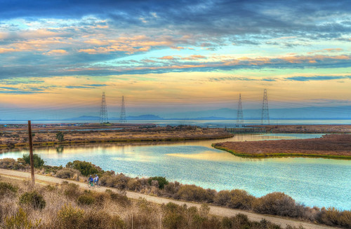 paloalto baylands sunset water towers bicyclists