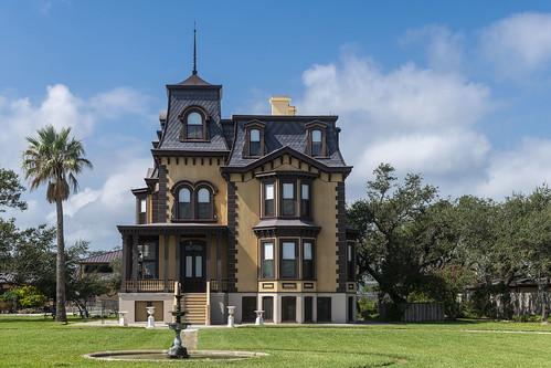 landscape urban mansion house victorian fulton beach texas grass fountain sky couds nikon 24120