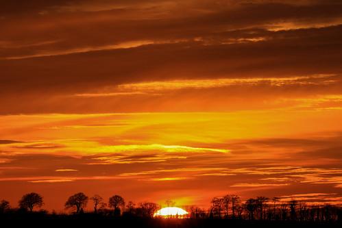 sunset christmasday royston therfieldheath hertfordshire orange golden sky clouds trees landscape sundown england unitedkingdom uk lightroom canoneos750d