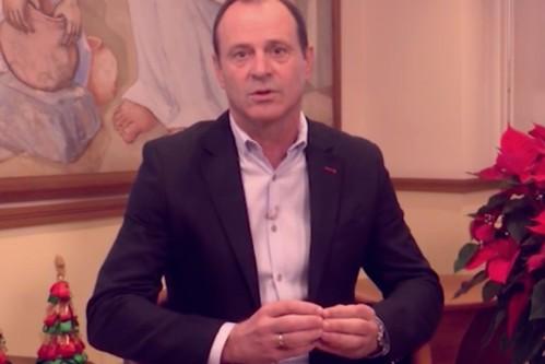 Captura de vídeo del mensaje navideños del Alcalde de Agüimes, Óscar Hernández