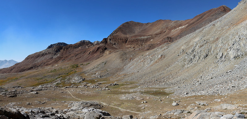 Crater Mountain and the trail down below us as we continue climbing up to Pinchot Pass on the PCT