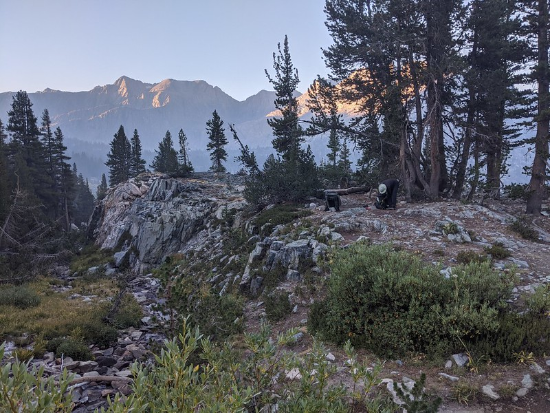 Getting ready to hike from our campsite near the Sawmill Pass Trail junction with the PCT-JMT