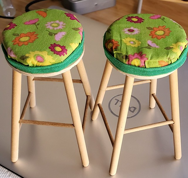 got these stools in a swap and reupholstered them