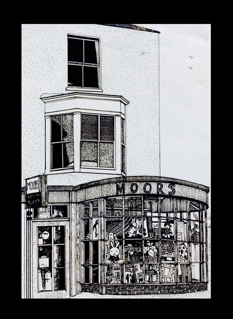 Old 1979 Pen and ink drawn by jmsw , on card. Southampton shop .