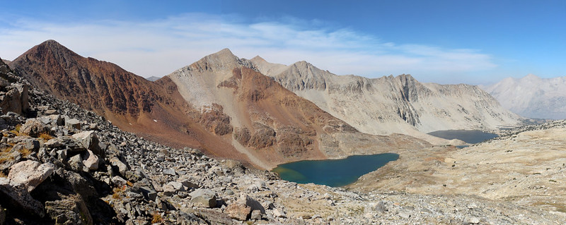 Panorama view northwest from the Pacific Crest Trail north of Pinchot Pass, with Lake Marjorie on the right