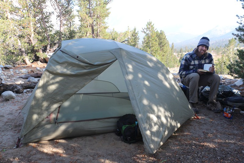 Our tent and campsite with a view, in Upper Basin along the South Fork Kings River on the Pacific Crest Trail