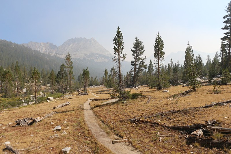 Looking south down the South Fork Kings River with White Mountain and the hazy smoke still chasing us north