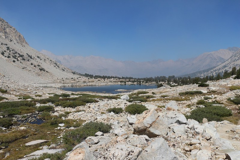 Looking north over the small lake below Lake Marjorie from the Pacific Crest Trail