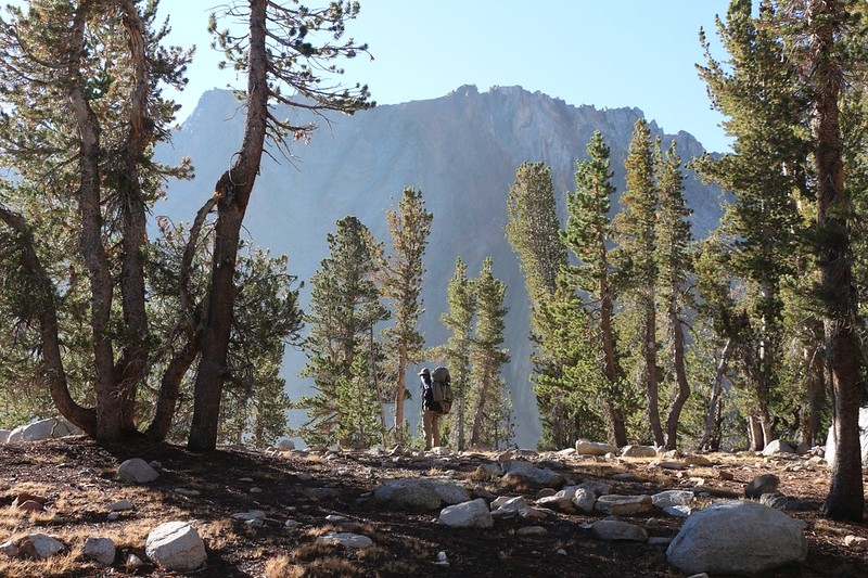 Mount Cedric Wright (12339 feet elevation) is off to the southeast as we hike past Twin Lakes on the PCT-JMT