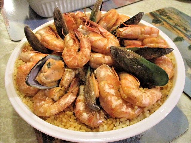 Christmas dinner seafood paella