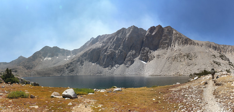 Lake Marjorie from the Pacific Crest Trail with some hazy smoke rising up behind the mountains from the south