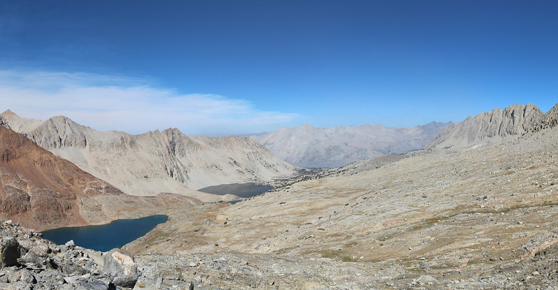 Panorama view north from Pinchot Pass with Lake Marjorie left of center and the Palisade Crest in the distance