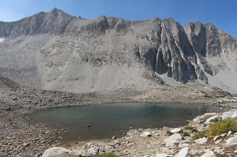Smaller high lake upstream from Lake Marjorie with Ickes Northeast Summit on the left, from the Pacific Crest Trail