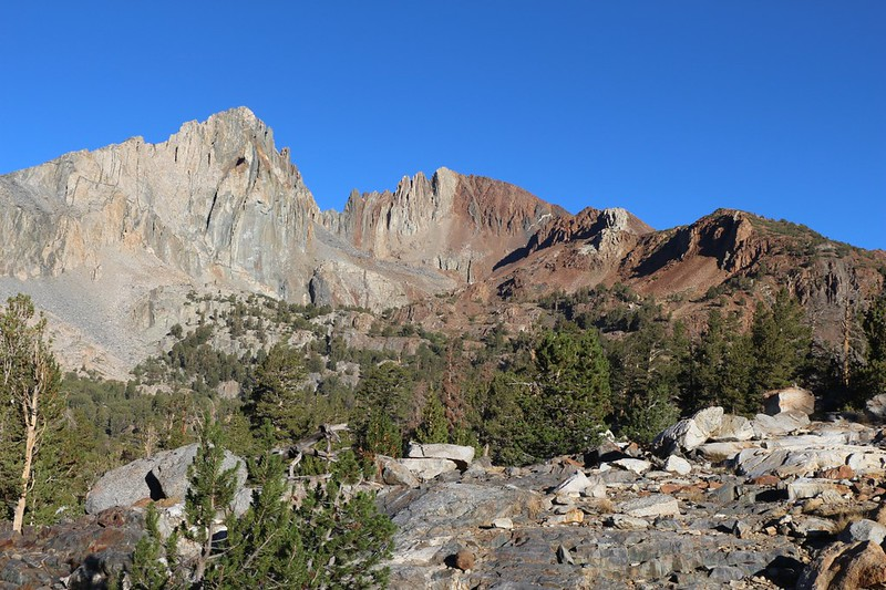 Crater Mountain (12874 feet elevation) from the Pacific Crest Trail near Twin Lakes