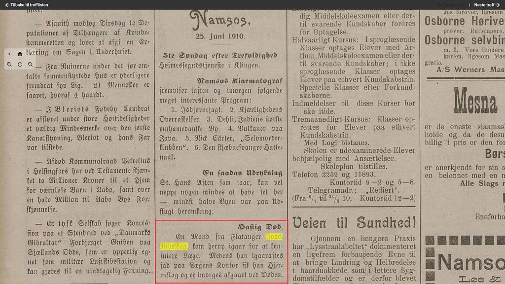 den første ribsskog døde i namsos