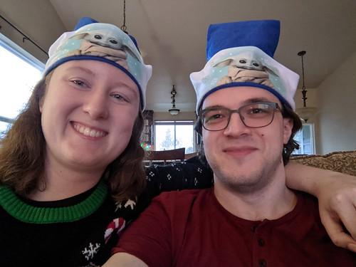 2020-12-25 daniel baby yoda santa hats