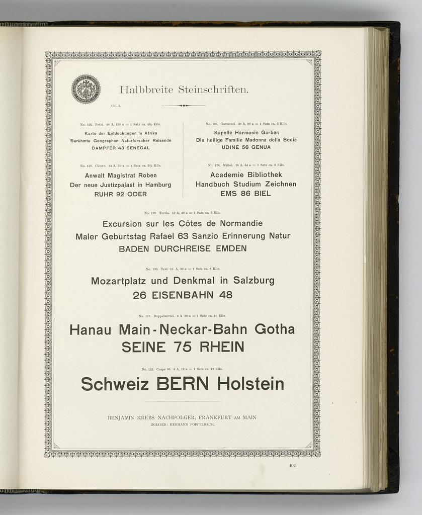 Halbbreite Steinschrift, sizes not cut at/for Benjamin Krebs Nachfolger