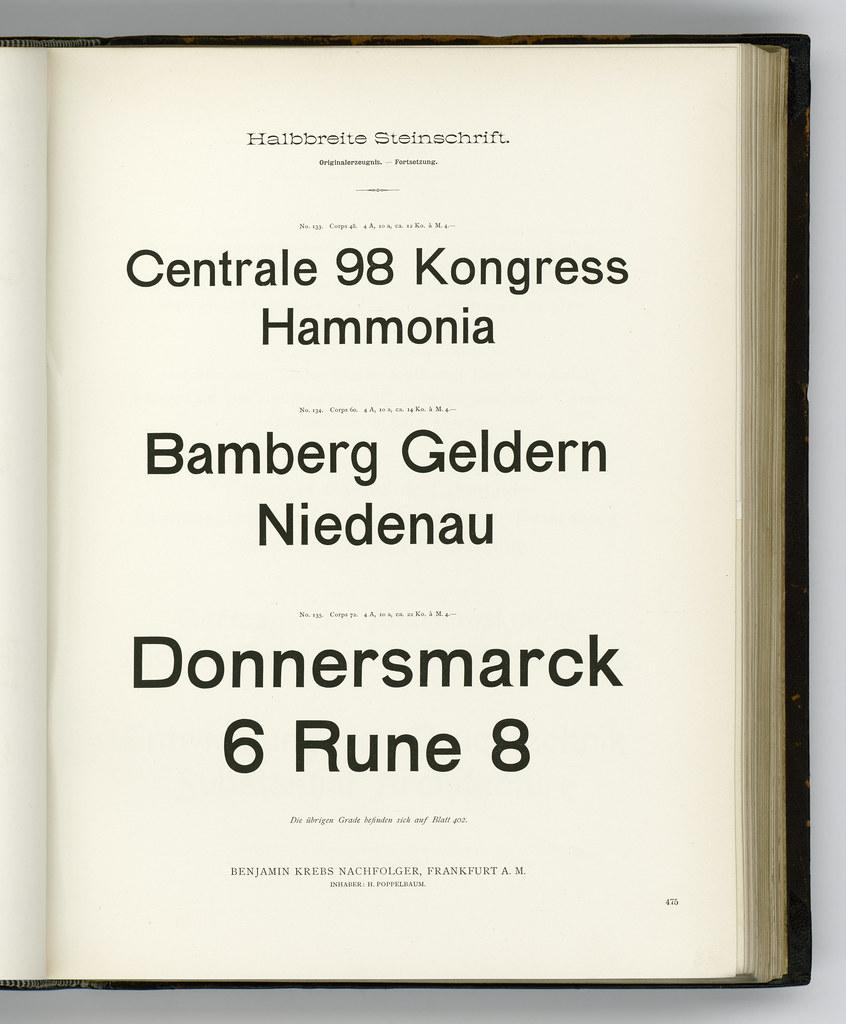 Halbbreite Steinschrift, sizes cut at/for Benjamin Krebs Nachfolger