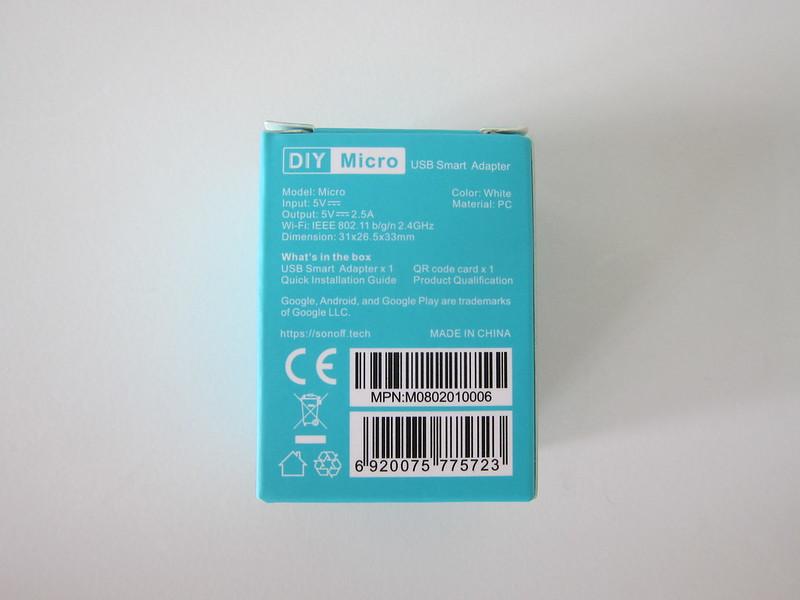 Sonoff Micro USB Smart Adaptor - Box Back