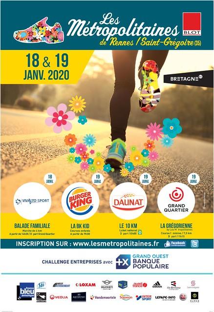 23 em compétition, Dimanche 19 janvier 2020, Métropolitaines de Saint Gregoire,  10 km, 984em sur 2258 classés