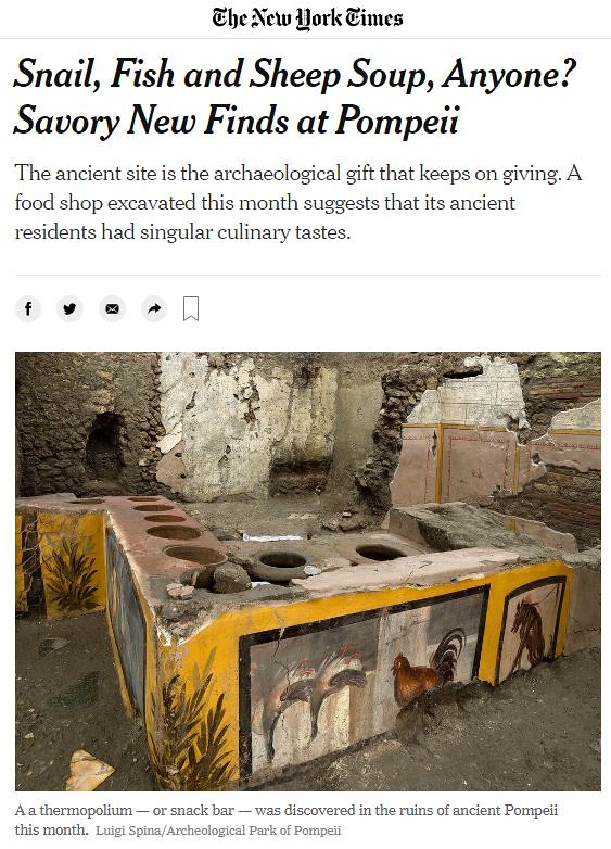 ROMA ARCHEOLOGICA & RESTAURO ARCHITETTURA 2020. Savory New Finds at Pompeii. The New York Times (26/12/2020); S.v., The MiBACT & Lo Strillone T.V., (26/12/2020). Archive - History of the Excavations in the Foreign Press (1904-2020).