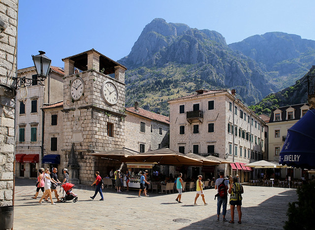 The clock tower of Kotor is the focal point of the town