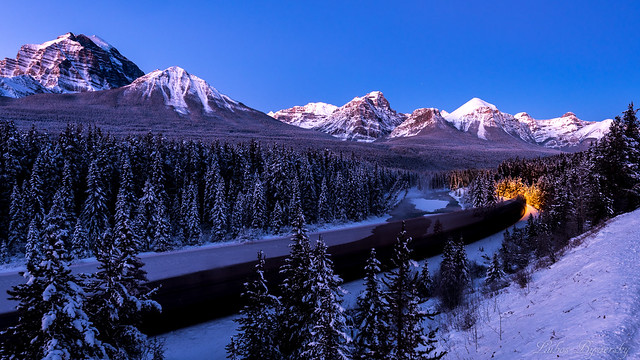Canadian Rockies before sunrise.